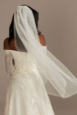 Scattered Beads and Pearls Mid-Length Glitter Veil