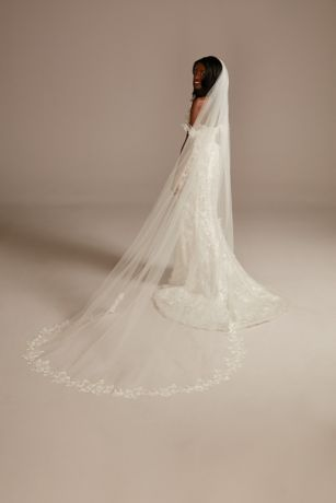 Floral Applique-Edge Tulle Cathedral Veil
