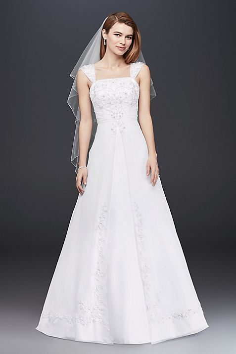 Petite A-line Wedding Dress with Cap Sleeves | David\'s Bridal