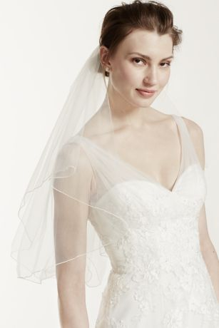 Short Veil with Pearl Wire Flower Comb