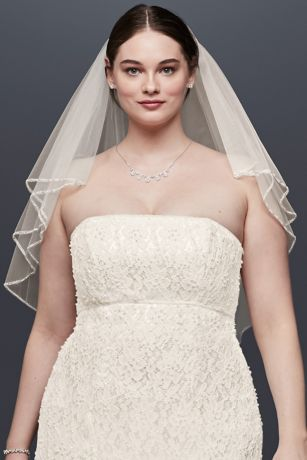 Two Tiered Veil with Beaded Stitched Edge
