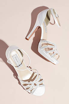 Touch Ups White (Dyeable Satin Platform Heels with Crystal Detail)