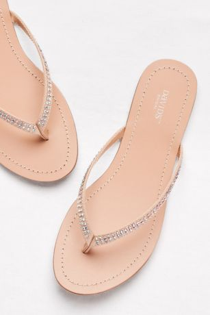 cfc8e77f714ce0 David s Bridal Ivory Flip Flops (Classic Flip Flops with Iridescent Stones)