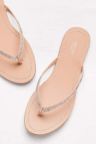 David S Bridal Ivory Flip Flops Clic With Iridescent Stones