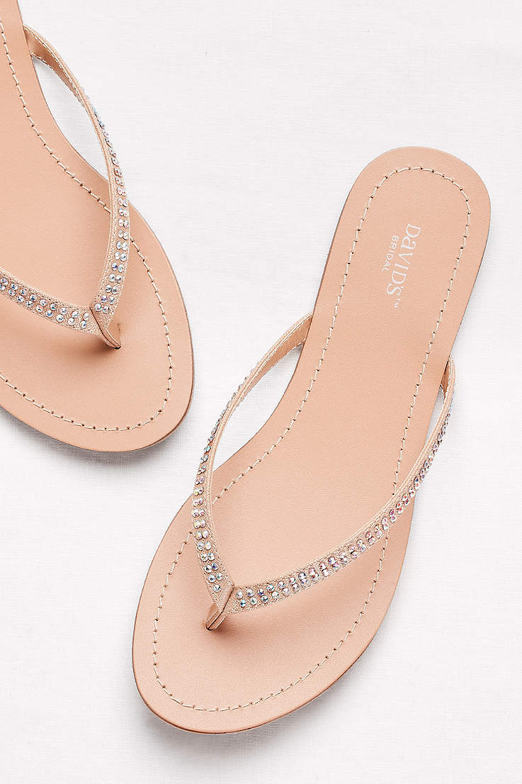 David S Bridal Ivory Flip Flops Clic With Iridescent Stones