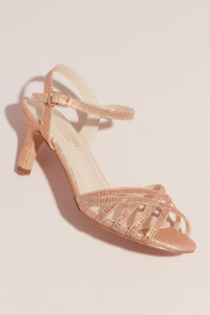 Blossom Pink Heeled Sandals (Crisscross Glittery Sandals with Crystals)
