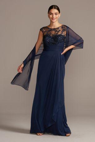 Long A-Line Cap Sleeves Dress - David's Bridal