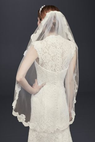 Fingertip Veil with Pearl Embellished Alencon Lace