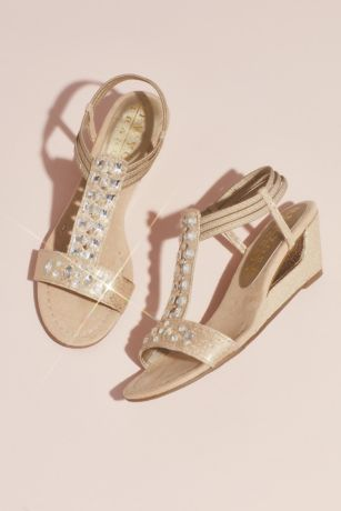 838537122e31 New York Transit Beige Wedges (Crystal T-Strap Wedge Sandals with Heel  Cutout)