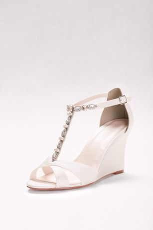 David's Bridal Ivory Wedges (Pearl and Crystal T-Strap Wedges)