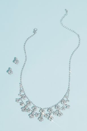 Marquise Crystal Leaf Necklace and Earrings Set