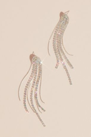 Iridescent Rhinestone Tassel Earrings