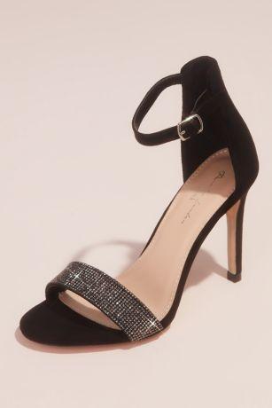 Beige;Black Heeled Sandals (Crystal Vamp Faux-Suede Ankle Buckle Heels)