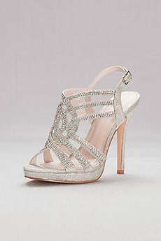 David's Bridal Grey Peep Toe Shoes (Strappy Crystal Platform Sandals)