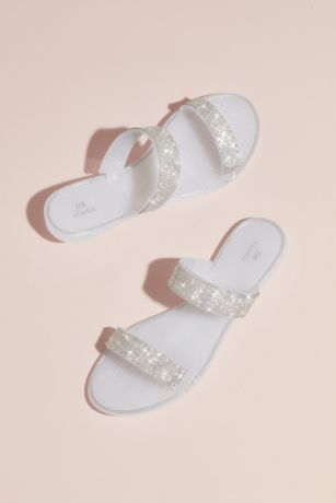 David's Bridal White Flat Sandals (Double Rhinestone Strap Sandals)