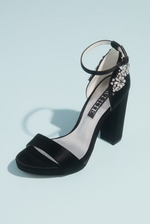 White by Vera Wang Black;Ivory Heeled Sandals (Crystal Embellished Platform Sandals)