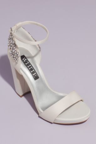 White by Vera Wang Ivory Heeled Sandals (Crystal Embellished Satin Platform Sandals)