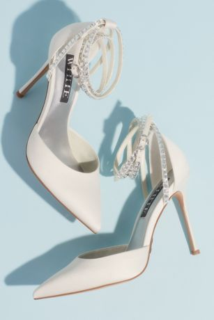 "White by Vera Wang Ivory Pumps (Satin D""Orsay Ankle-Wrap Stiletto Heels)"