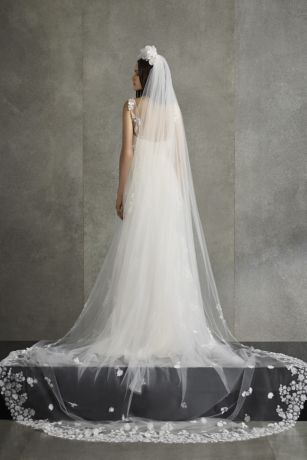 White by Vera Wang Floral Punch Applique Veil