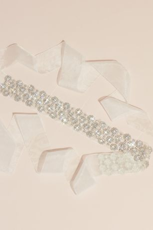 Crystal Halos Illusion Sash with Organza Ties