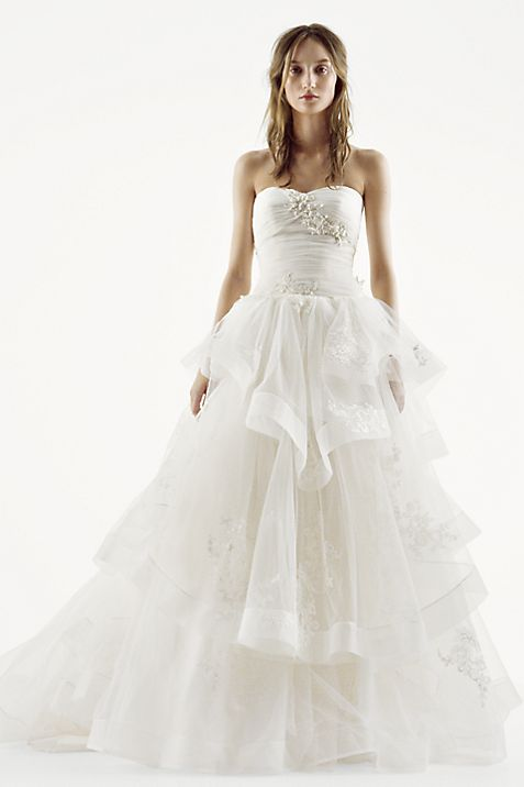 White by Vera Wang Strapless Tulle Wedding Dress | David\'s Bridal