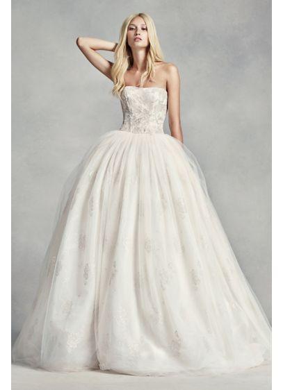 White by Vera Wang Tulle Beaded Lace Wedding Dress | David\'s Bridal