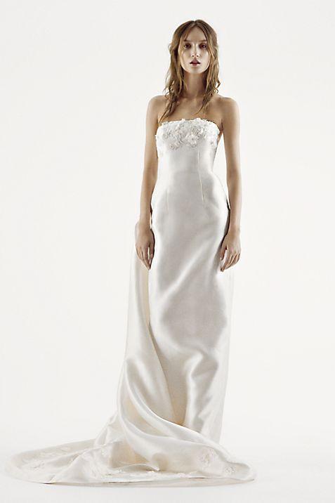 White by Vera Wang Strapless Mikado Wedding Dress | David\'s Bridal