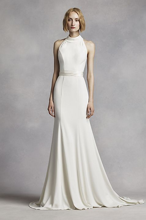 White by Vera Wang High Neck Halter Wedding Dress | David\'s Bridal