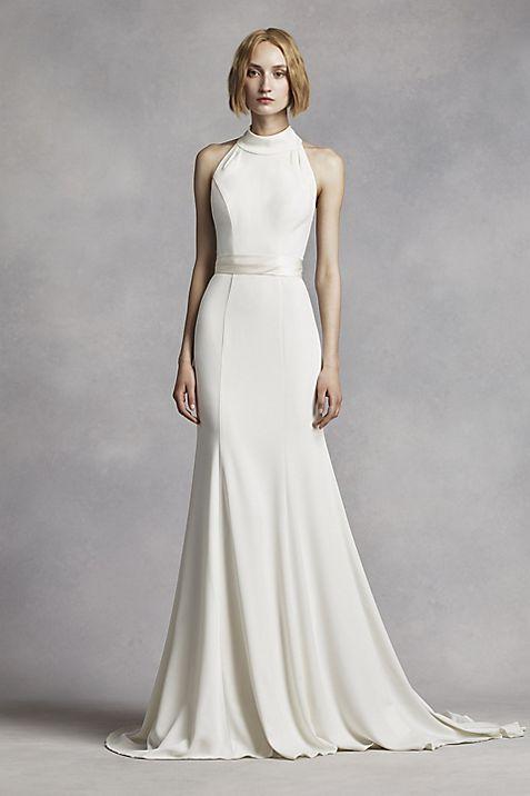 White by Vera Wang High Neck Halter Wedding Dress | David\'s Bridal