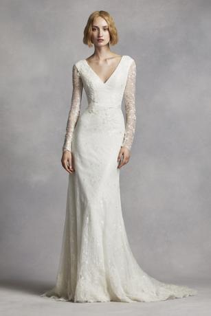 White by vera wang long sleeve lace wedding dress davids bridal junglespirit Image collections