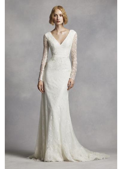 White by vera wang long sleeve lace wedding dress davids bridal long sheath modern chic wedding dress white by vera wang junglespirit Choice Image