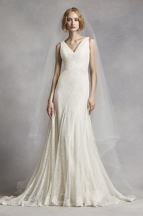 White by Vera Wang V-Neck and Lace Wedding Dress | David\'s Bridal