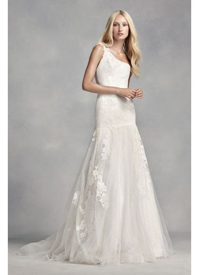 White by Vera Wang One Shoulder Lace Wedding Dress | David\'s Bridal