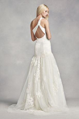 white  vera wang  shoulder lace wedding dress davids bridal