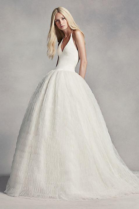 White by Vera Wang Halter Tulle Wedding Dress   David\'s Bridal