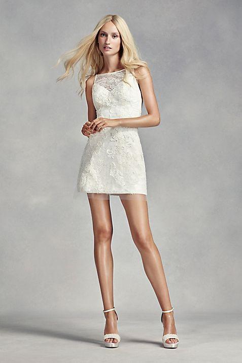 White by Vera Wang Short Lace Wedding Dress   David\'s Bridal