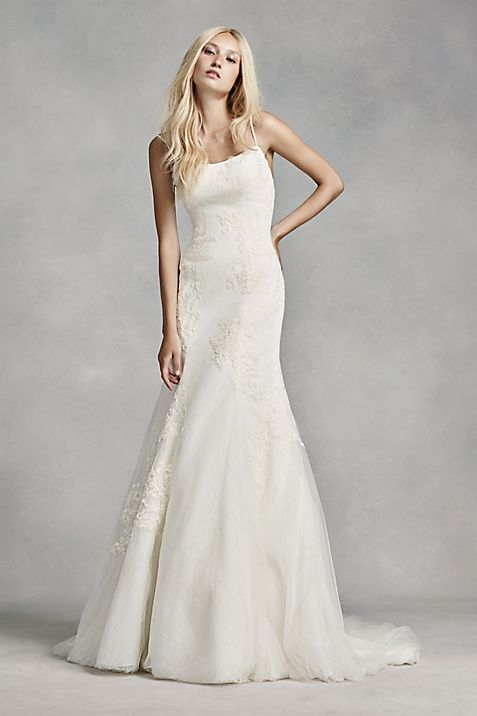 White by Vera Wang Low-Back Wedding Dress | David\'s Bridal