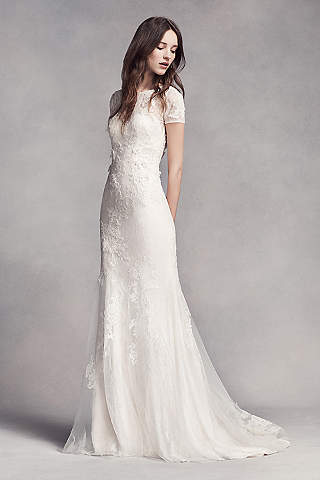 Petite wedding dresses gowns for petite women davids bridal long sheath boho wedding dress white by vera wang junglespirit