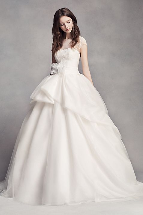 White by Vera Wang Lace Illusion Wedding Dress | David\'s Bridal
