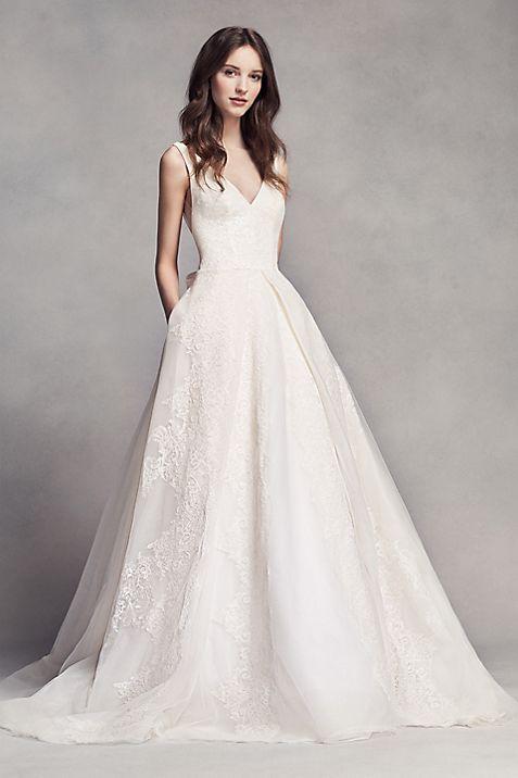 White by Vera Wang Pleated V-Neck Wedding Dress | David\'s Bridal
