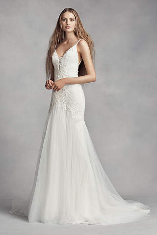 Long Sheath Romantic Wedding Dress