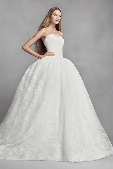 White by Vera Wang Corded Lace Wedding Dress | David\'s Bridal