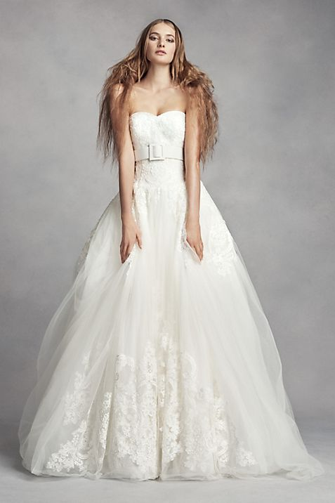 White by Vera Wang Lace Ball Gown Wedding Dress | David\'s Bridal