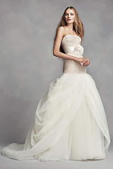 Long Mermaid/ Trumpet Romantic Wedding Dress - White by Vera Wang