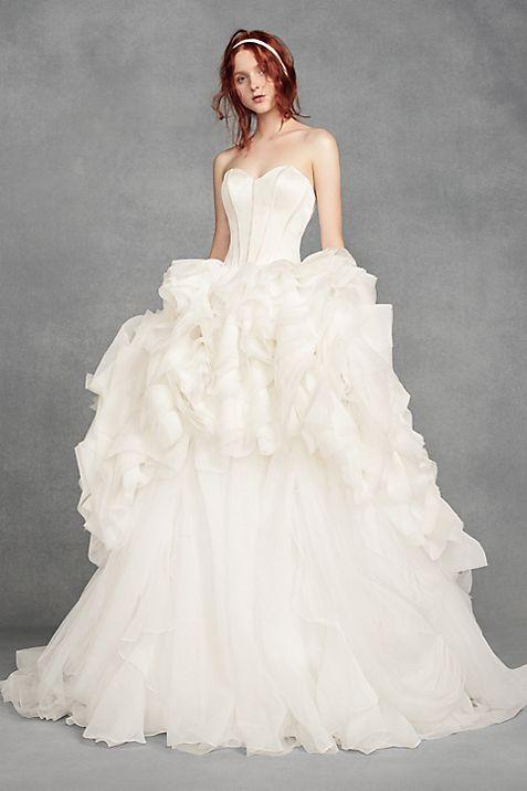 White By Vera Wang Tiered Organza Wedding Dress