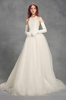 Long Ballgown Simple Wedding Dress - White by Vera Wang