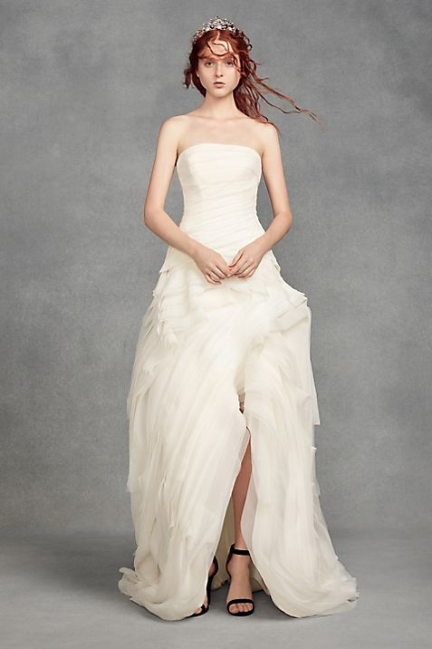 White by Vera Wang Organza High-Low Wedding Dress | David\'s Bridal