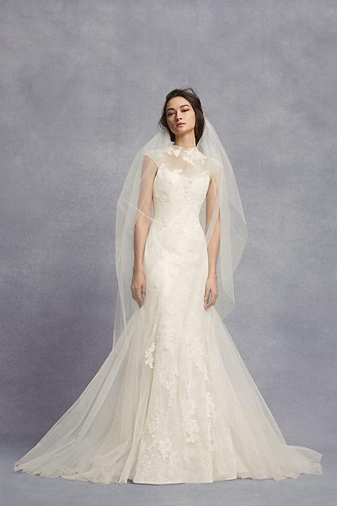 Appliqued Chantilly Lace Trumpet Wedding Dress | David\'s Bridal