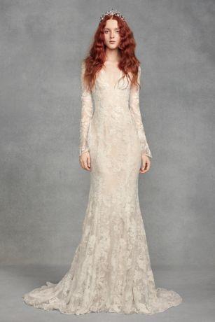 White by Vera Wang Bell Sleeve Lace Wedding Dress | David's Bridal