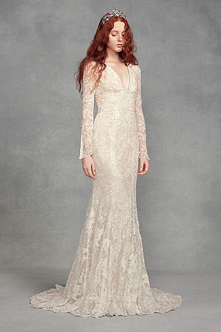 Long Mermaid/ Trumpet Boho Wedding Dress   White By Vera Wang
